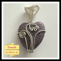 Lilac Flower Heart Lava Stone Wire Wrapped Necklace
