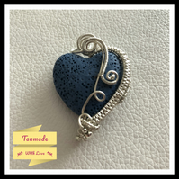 Blue Heart Lava Stone Wire Wrapped Diffuser Necklace