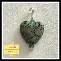 Simple Green Heart Lava Stone Diffuser Necklace