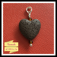 Chocolate Lava Stone Heart Diffuser Necklace