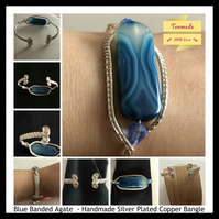 Blue Banded Agate Handmade Cuff Bangle (Adjustable)