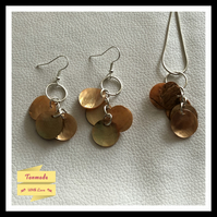 Delicate Shell Necklace & Earrings Set - Pumpkin