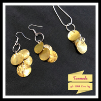 Delicate Shell Necklace & Earrings Set - Autumn