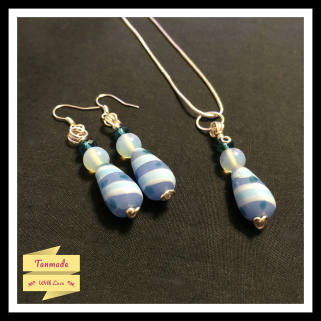 Opalite & Blue Bead Necklace and Earrings Set