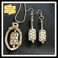 Handmade Wire Wrapped Necklace and Earrings Gift Set- Polkadot