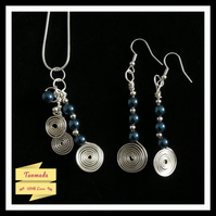 Blue Hematite Spiral Necklace and Earrings Gift Set
