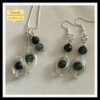 Handmade Green Moss Agate Necklace and Earrings Set
