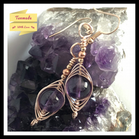 Natural Amethyst Gemstone Earrings in Rose Gold Copper