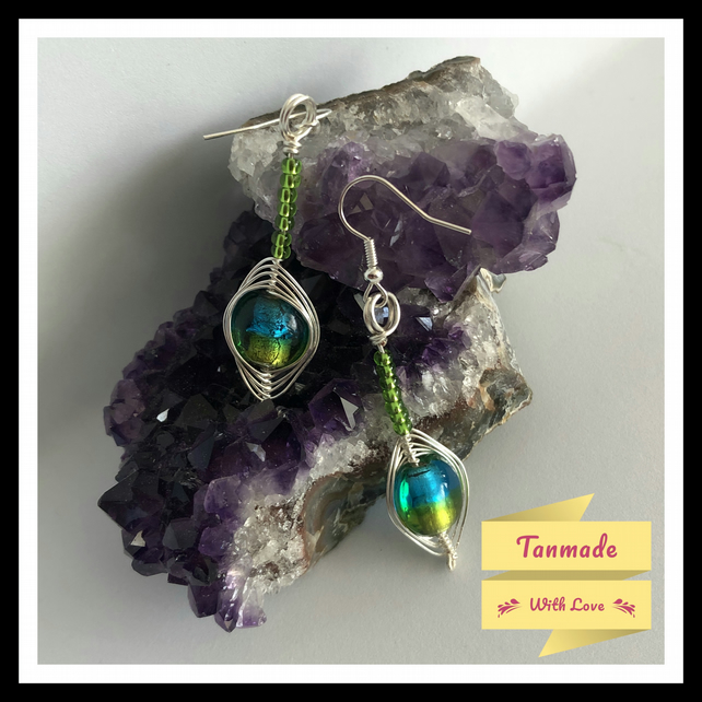 Blue-Green Glass Lampwork Earrings in Silver Plated Copper