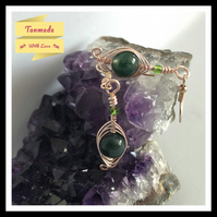 Green Moss Agate Gemstone Earrings in Rose Gold Copper