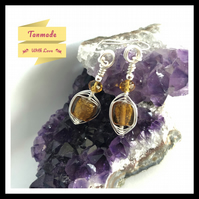 Amber (colour) Glass Earrings in Silver Plated Copper