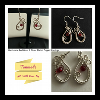Red Glass Teardrop Earrings