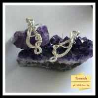 Beautiful Handmade Silver Plated Wire Wrapped Earrings.