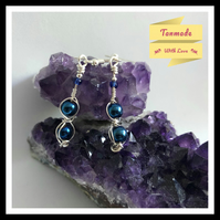Blue Hematite Earrings in Silver Plated Copper