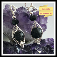 Natural Lava Stone Earrings in Silver Plated Copper