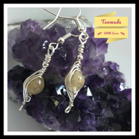 Natural Citrine Gemstone Earrings in Silver Plated Copper