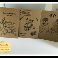 Set of 3 Small Stamped Blank Cards (A6 size)