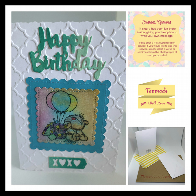 Birthday Card- Teddy With Balloons