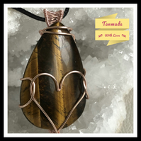 Beautiful & Simple Rustic Heart Wire Wrapped Tiger's Eye Pendant