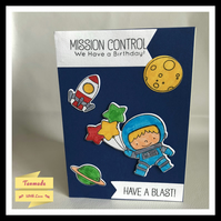 Astronaut Rocket Space Birthday Card