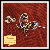Butterfly Multi Stone Shawl Pin- Scarf Pin