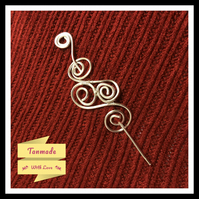Silver Plated Copper Shawl Pin - Scarf Pin - Hair pin