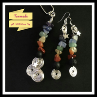 Rainbow Chakra Stars and Swirls Necklace and Earrings Set