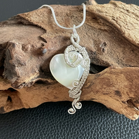 Dainty Handmade Mother Of Pearl Heart Pendant