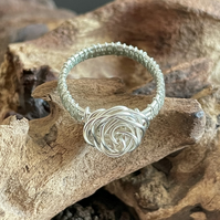 Wire Wrapped Rose Ring - Size 8 (Q) Silver Plated Copper