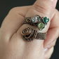 Patinated Copper and Green Glass Adjustable Ring