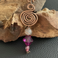 Patinated Copper Spiral, Rose Quartz Pendant