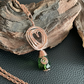 Emerald Green and Copper Heart Spiralled Pendant