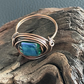 Blue Square Bead Wire Wrapped Copper Ring - Size Q (8 and a bit)