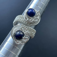 Adjustable Lapis Lazuli Wire Wrapped Ring (one size)