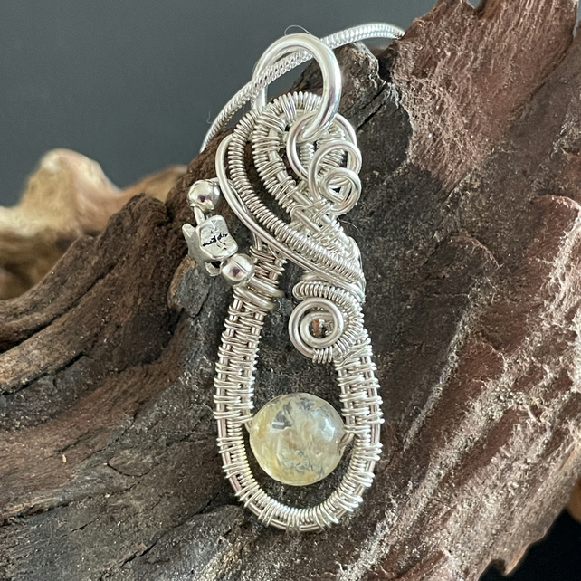 Handmade Wire Wrapped Natural Citrine Pendant