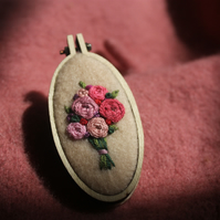 Miniature floral embroidery brooch: Four variations available