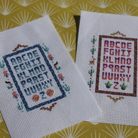 Cross-stitch alphabet sampler: Two variations available