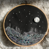 """The Moon and the Sea"" Hand embroidered hoop art"