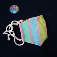 LARGE size. Recycled rainbow stripe wide