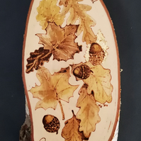 Wooden Plaque Pyrography - 'Acorns and Leaves' original artwork on wood
