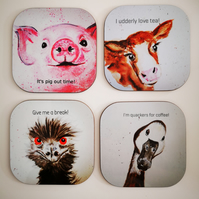 Coasters- Set of 4 coasters Emu,Cow,Duck, and Pig