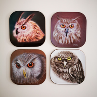 Coasters set of 4 - Owls and Owlets