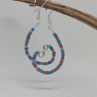 Beaded earrings silver plated