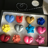Valentine Hearts and Flowers Crayon Gift Set