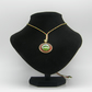 Golden alloy, Red resin, Green pebble adjustable necklace.