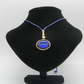 Golden alloy, Purple resin, Blue pebble adjustable necklace.