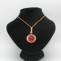 Golden alloy, Orange resin, Red pebble adjustable necklace.