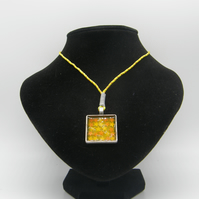Silver alloy, Yellow resin, Yellow and Orange Star Glitter