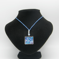 Silver alloy, Blue resin, Blue Heart Glitter