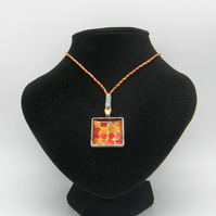 Silver alloy, Orange resin, Orange and Red Heart Glitter